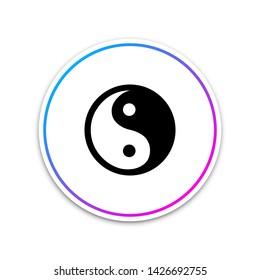 Yin Yang symbol of harmony and balance icon isolated on white background. Circle white button