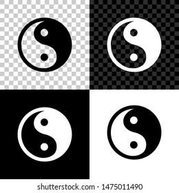 Yin Yang symbol of harmony and balance icon isolated on black, white and transparent background