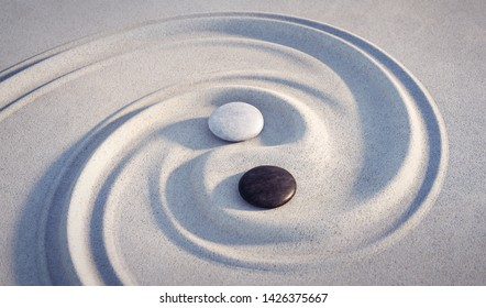 Yin Yang symbol. Motive made of stones and lines in the sand - 3D illustration