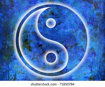 yin and yang symbol on artwork