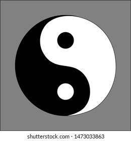Yin and yang symbol, the taichi symbol,   taijitu sign illustration