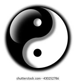 Yin and Yang as symbol of taoism, duality and complementarity. Pseudo 3D style with reflection and shadow. Metaphysical concept of two opposite qualities that complement each other