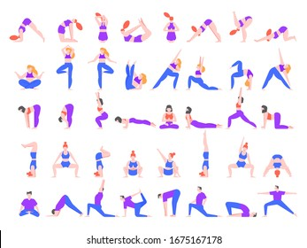 Yoga asanas. Practice in yoga poses, young people train balance, meditate and relax at yoga class  illustration. Man and woman characters practicing pilates isolated on white background