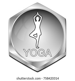 Yoga button - 3D illustration