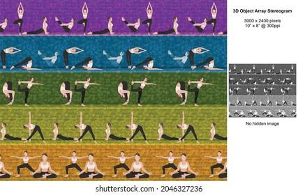Yoga Class 3D Object Array Stereogram Illusion