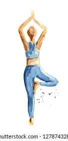 Yoga concept. Vrikshasana. Tree pose. Woman practice. Watercolor hand drawn illustration  isolated on white background