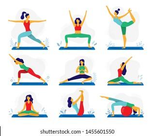 Yoga exercise. Fitness therapy, healthy stretch yoga poses and woman treatment stretching exercises. Meditation yoga exercising, harmony fitness sport. Flat  illustration isolated icons set