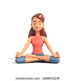 Yoga-Mädchen in Lotus Lage auf weißem Hintergrund, Cartoon-weibliche 3D-Charta auf Yoga, 3D-Illustration