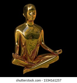 Yoga golden lotus position man figure polished sparkling stylized. Peaceful nirvana meditate mind balance balance symbol. Mental guru recreation character. 3d rendering over black