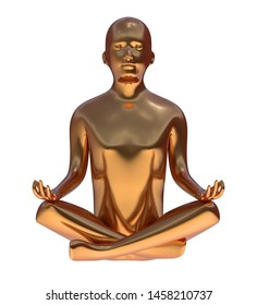 Yoga golden man stylized figure peace of mind lotus pose metallic. Human mental guru character statue. Tranquility nirvana meditate zen-like concept. 3d rendering