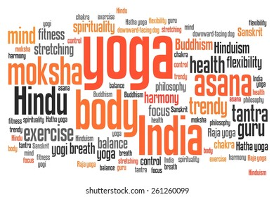 Yoga issues and concepts word cloud illustration. Word collage concept.