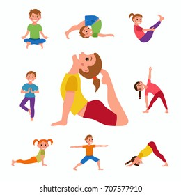 Yoga kids poses set. Cute cartoon gymnastics for children and healthy lifestyle sport illustration. clip art happy kids fitness exercise and yoga asana set for fitness and activity design
