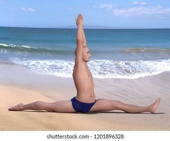 Yoga man in hanumanasana or monkey pose on a sandy beach. Horizontal 3d render.
