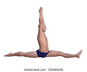 Yoga man in hanumanasana or monkey pose. Horizontal 3d render isolated on white.