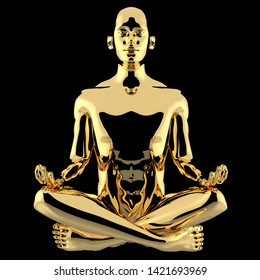 Yoga man yoga lotus pose golden character stylized polished. Peaceful nirvana meditate soul body mind balance icon concept. Human mental recreation icon. 3d illustration, isolated on black
