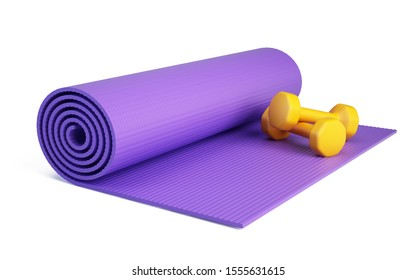 Yoga mat for fitness exercise and dumpbells isolated on white background. Fitness mat - 3d rendering.
