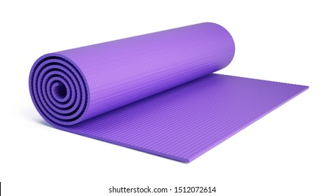 Yoga mat for fitness exercise isolated on white background. Fitness mat - 3d rendering.