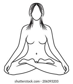 Padmasana Lotus Pose Yoga Figure Clean Stock Vector Royalty Free
