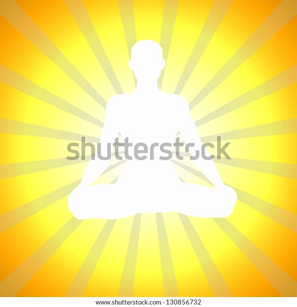 Yoga Meditation Pose Spiritual Enlightenment Illustration