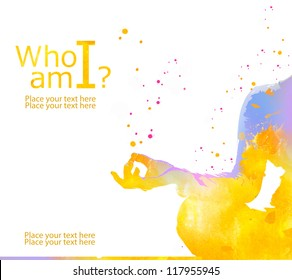 Yoga meditation pose,from watercolor stains, isolated on white background. Vacation lifestyle. Wellness concept. Who am i?