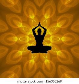 Yoga Position on Mandala Background