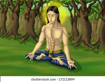 Yoga samadhi in the forest