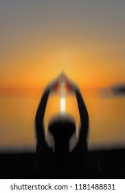Yoga, silhouette of woman in the sunset in the meditarraneo, allegory of longing, of daydreaming, of love, of relaxation, of peace, of contemplation, of calm, of vacations,  visual allegories,