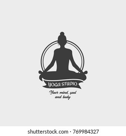 Yoga Studio Badge Template with a woman in a lotus position. Design Logo. This symbol can be used for social network and web advertising or brand promotion