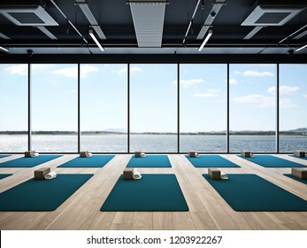 Yoga studio interior 3D render
