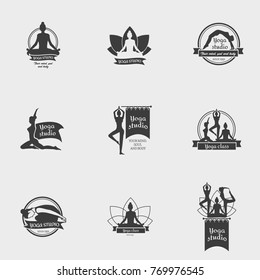 Yoga Studio Logo. Collection of yoga section badges.This monochrome symbol template can be used for social network and web advertising or brand promotion.
