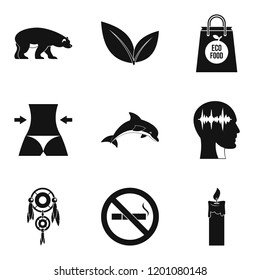 Yoga traineeship icons set. Simple set of 9 yoga traineeship icons for web isolated on white background