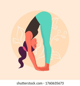 Yoga-illustration: a Girl performs uttanasana