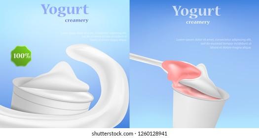 Yogurt box tasty banner concept set. Realistic illustration of 2 yogurt box tasty banner horizontal concepts for web