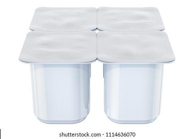 Yogurt plastic packaging, mock-up. 3D rendering