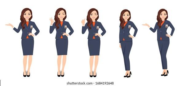 yogyakarta / Indonesia - March 27 2020: A set Pose of BNI Women Employee with 2020 new uniform character 2