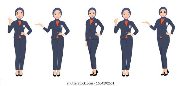 yogyakarta / Indonesia - March 27 2020: A set Pose of BNI Women Employee with 2020 new uniform character