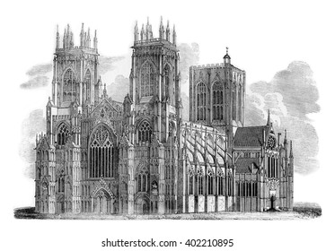 York Minster, vintage engraved illustration. Colorful History of England, 1837.