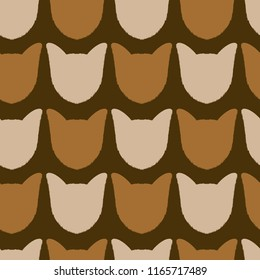 yorkshire terrier dog head silhouette repeating pattern illustration in brown