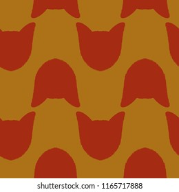 yorkshire terrier dog head silhouette repeating pattern illustration in red and orange