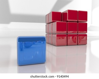are you  different?. 3d rendered puzzle cube