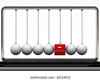 Are you different?  Balancing balls Newton's cradle with a red box.