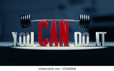 """You can do it"" motivational text with barbell."