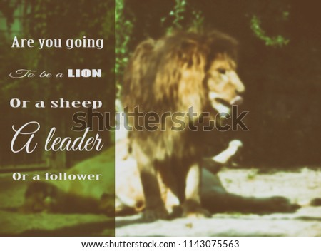 You Going Be Lion Sheep Leader Stock Illustration 1143075563