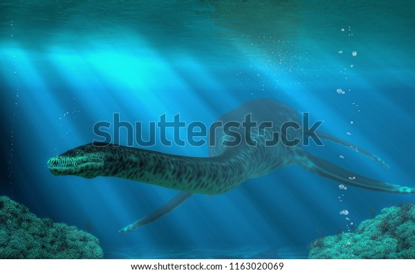 You have entered the underwater realm of the styxosaurus, a plesiosaur of the Cretaceous era. This 30 to 40 foot long aquatic reptile once swam the ocean in the time of the dinosaurs. 3D Rendering