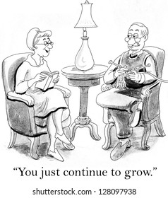"""""""You just continue to grow."""" wife says to husband who is knitting"""