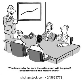 """""""You know why I'm sure the sales chart will be great?  Because this is the morale chart."""""""