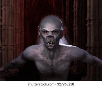 You are not welcome here. A classic vampire at home. High quality 3D rendered.