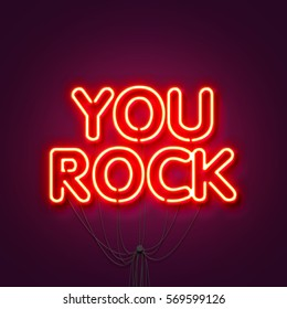 You Rock - Neon sign a purple background. Valentines background. 3D Rendering