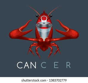 You are what you eat - Cancer disease cause concept – Aluminium can metamorphosis into cancer idea - cancer awareness symbol - Mnemonic