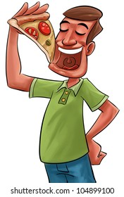 young adult eating a big slice of pizza